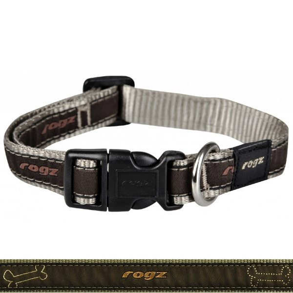Rogz - Jellybean Dog Collar - Bronze Bone - Small SALE