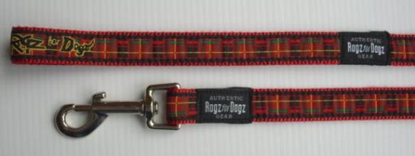 Rogz Fixed Leash - Red Tartan SALE