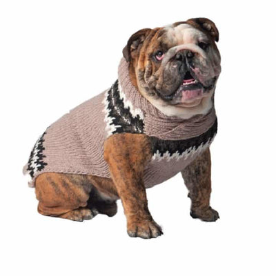 Chilly Dog Sweater - Tan Fairisle - SALE