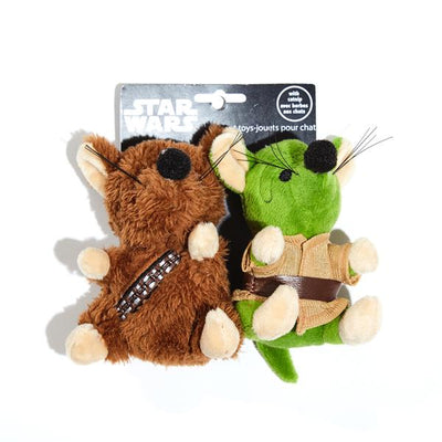 Silver Paw Star Wars Chewbcaca / Yoda 2 Pc Cat Toy