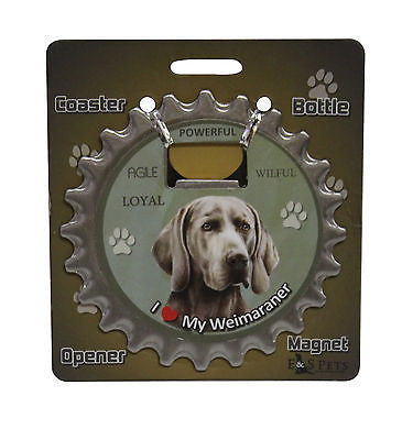 Bottle Ninja - 3 in 1 Coaster/Bottle Opener/ Magnet - Weimaraner