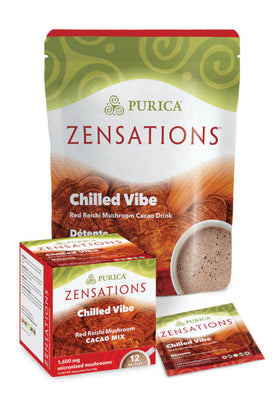 Purica Zensations Chilled Vibe Red Reishi Mushroom Cacao Mix 12 packets total 60g