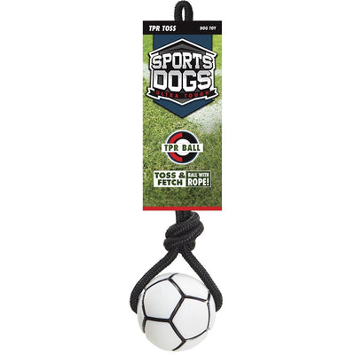 Jakks Sports Dogs Toss & Fetch Ball with Rope Dog Toy