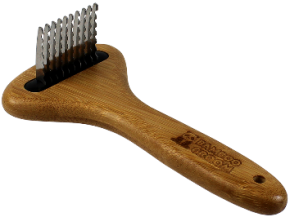 Bamboo Groom  Dematting Rake With Stainless Steel Serrated Blades