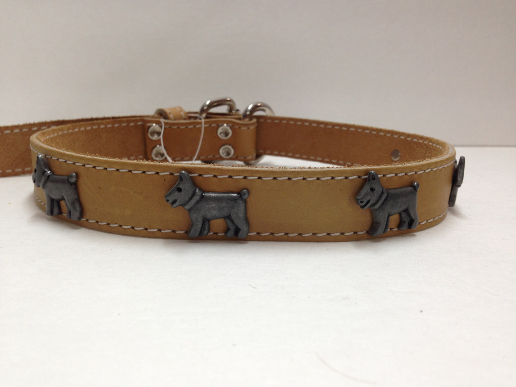 Beige Leather Collar with Embedded Dogs 26""
