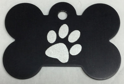 ID Tag - Large Black Bone with Paw