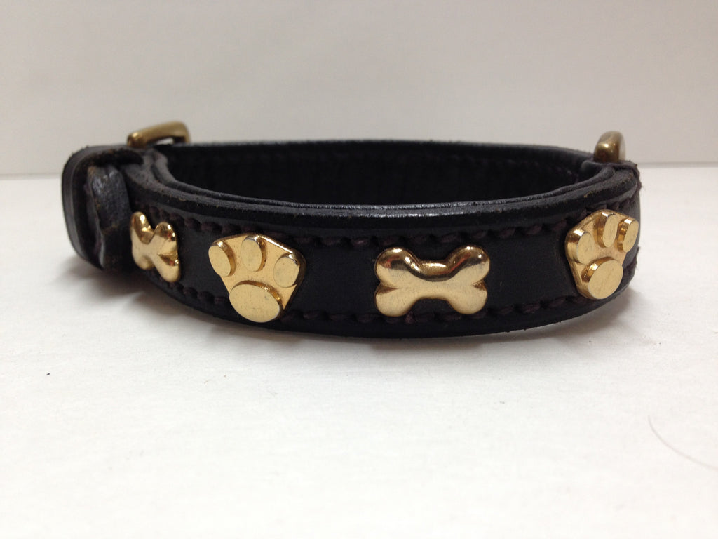 SD Black Collar with Gold Bones & Paws 14""