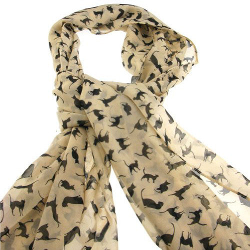 Cat Scarf - Apricot with Black Cats