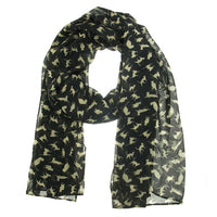Cat Scarf - Black with Apricot Cats