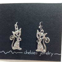 Chelsea Pewter - Sparkly Cat Earrings