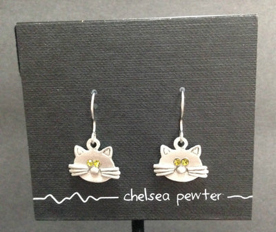 Chelsea Pewter Cat Earrings - Green eyes