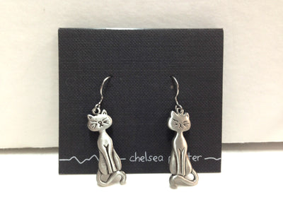 Chelsea Pewter Cat Earrings