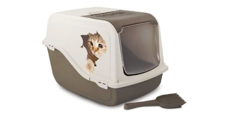 Bergamo - Ariel Litter Box - Taupe with Cat And Hole Decal
