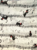 Cat Scarf - Music Notes - Grey & Black