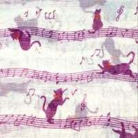Cat Scarf - Music Notes - Purple