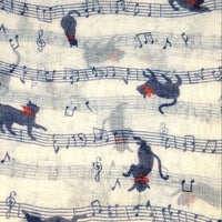 Cat Scarf - Music Notes - Blue & Red