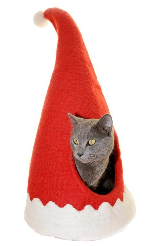 Dharma Dog Karma Cat Red Gnome Hat Cave Bed