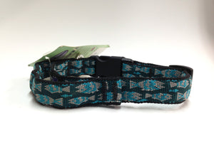 Canine Equipment Collar Teal Fish