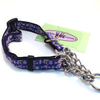 Canine Equipment Training Martingale Purple & Silver Fish