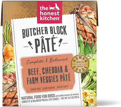 The Honest Kitchen Butcher Block Pate Beef , Cheddar & Farm Veggies Pate 10.5 oz