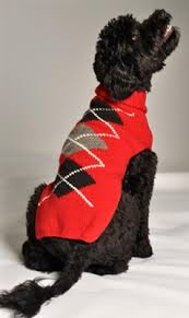 Chilly Dog Classic Red Argyl Sweater