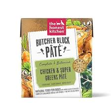 Honest Kitchen Butcher Block Chicken & Super Green Pate  10.5 oz Dog Wet