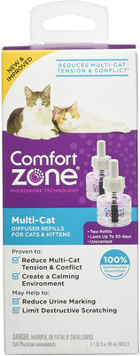 Comfort Zone Multicat Diffuser Refills for Cats Kittens (2 Pack)