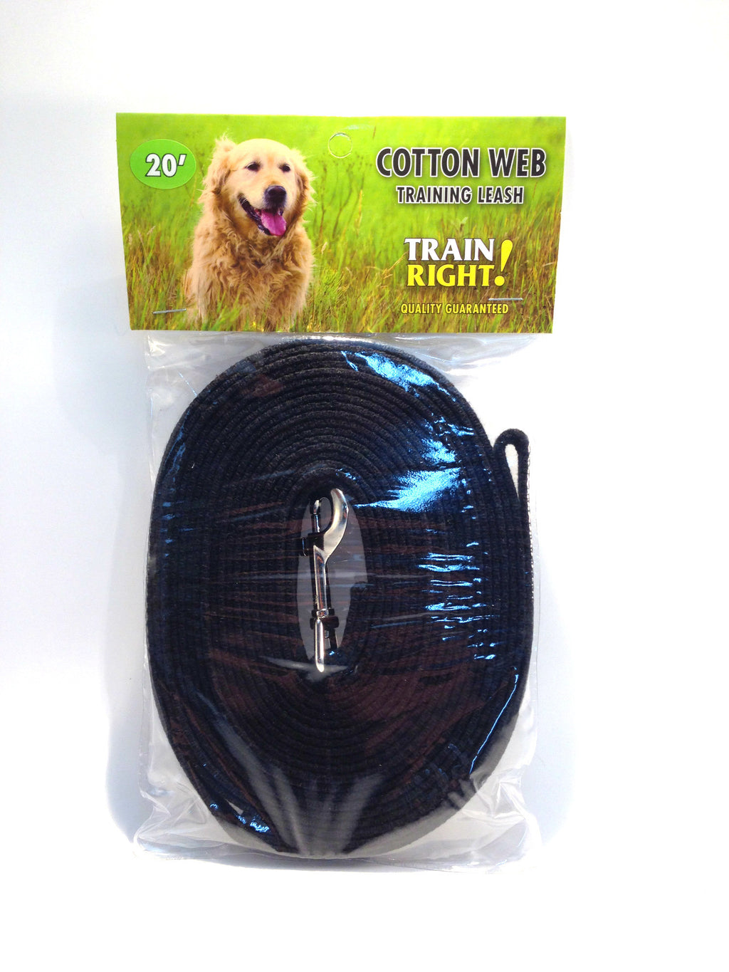 Cotton Web Training Leash - Black