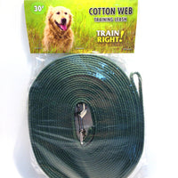 Cotton Web Training Leash - Green
