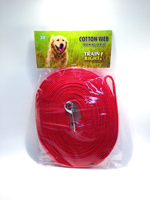 Cotton Web Training Leash - Red