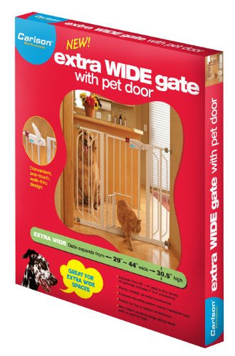 "Carlson Pet Products - Extra Wide Gate with Pet Door 29""- 44"""