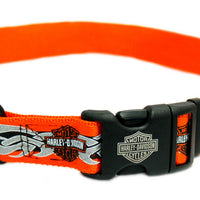 Harley Davidson - Orange & Black with Flames Clip Collar
