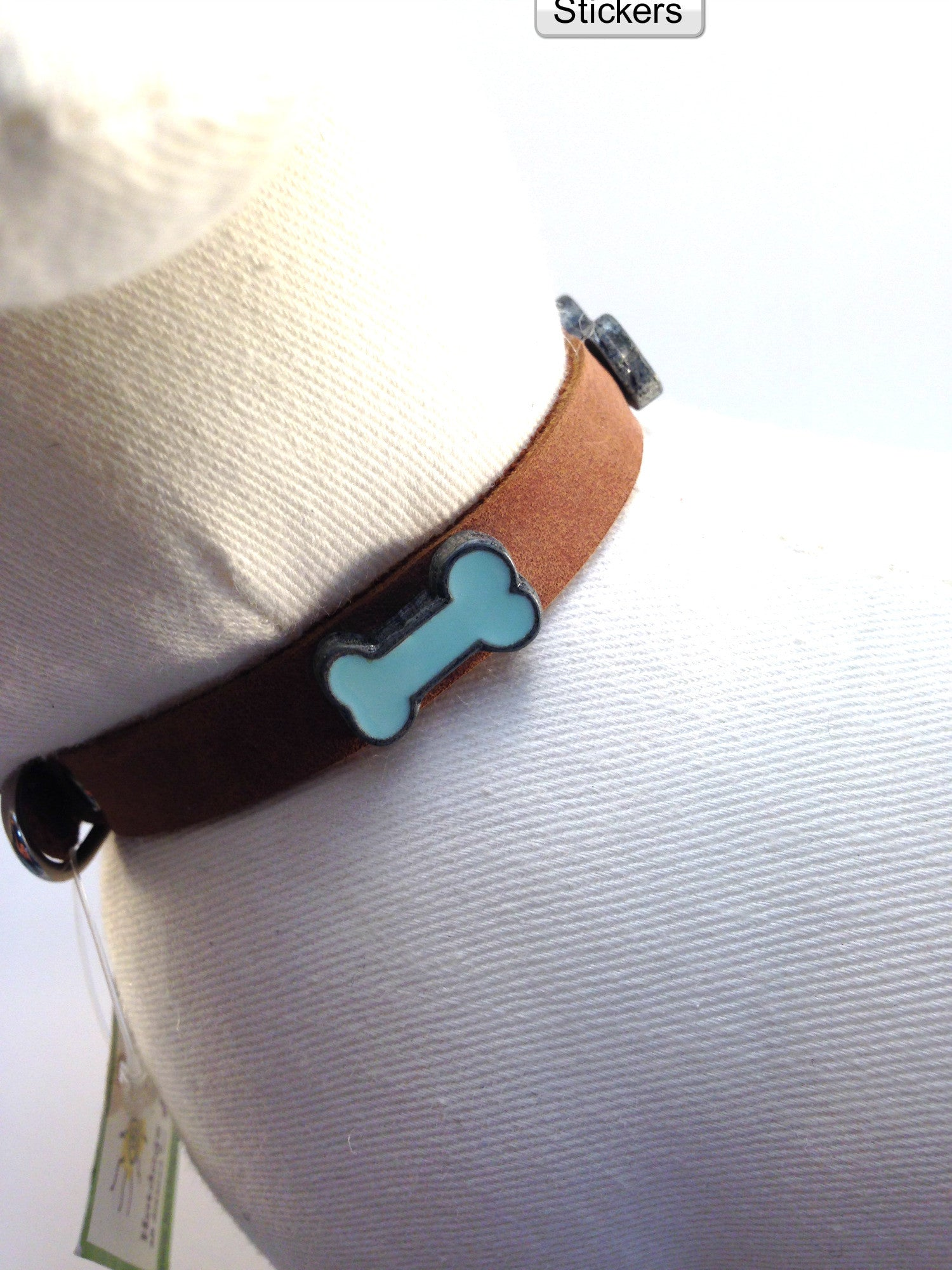 Brown Collar With Blue Bones - Small