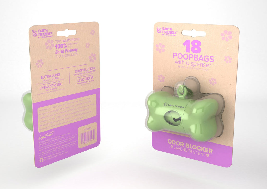 Earth Friendly 18 ct poop bags with Dispenser - SALE