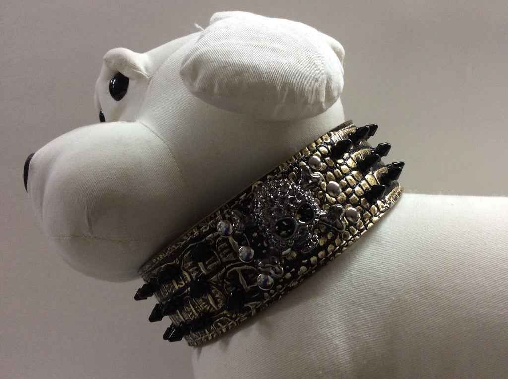NPF Collars Bling Wide Collars with Skull in Gold