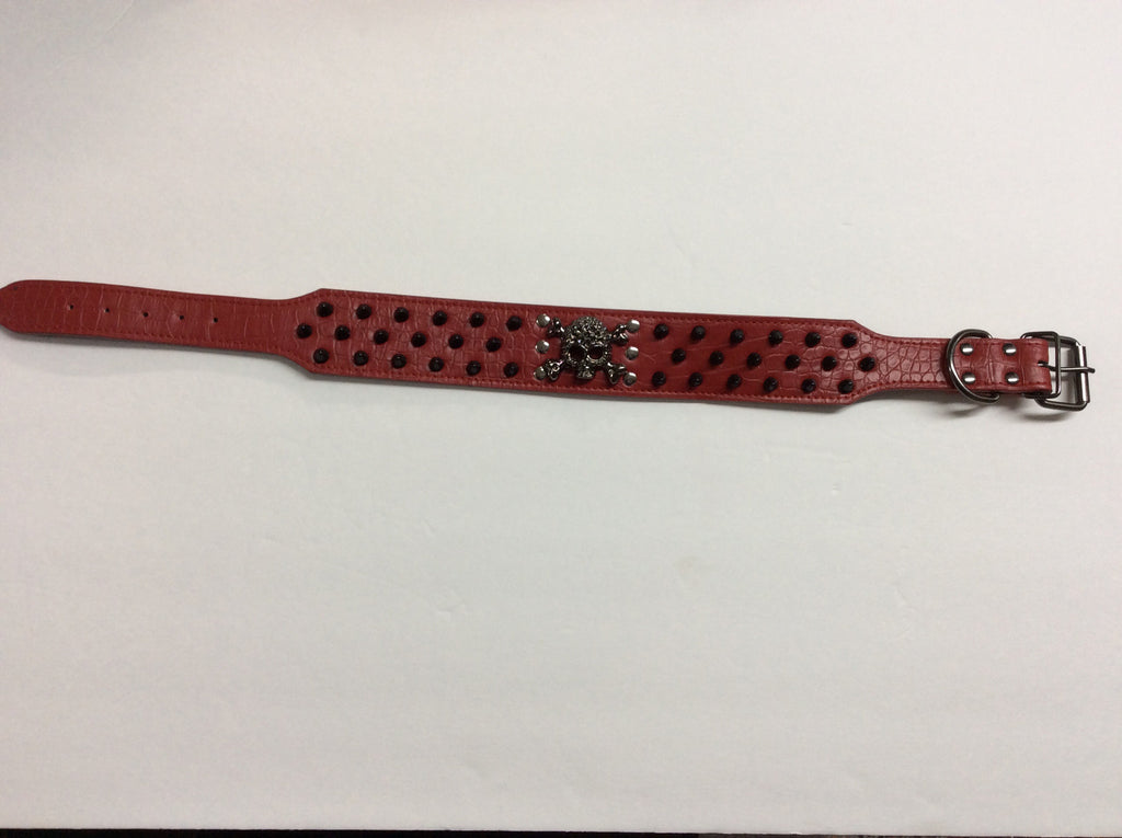 NPF Collars Bling Wide Collars with Skull in Red