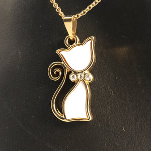 White and gold cat necklace