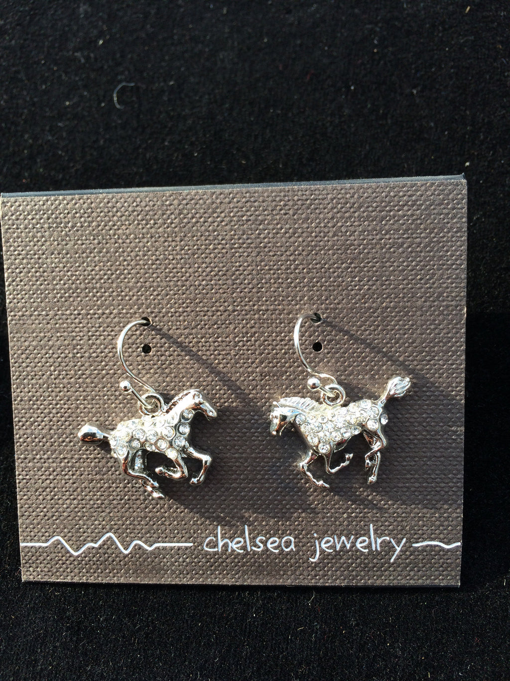 Chelsea - Horse Earrings with Rhinestones