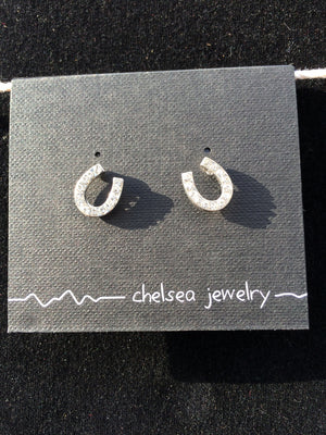 Chelsea - Silver Horseshoe Earrings