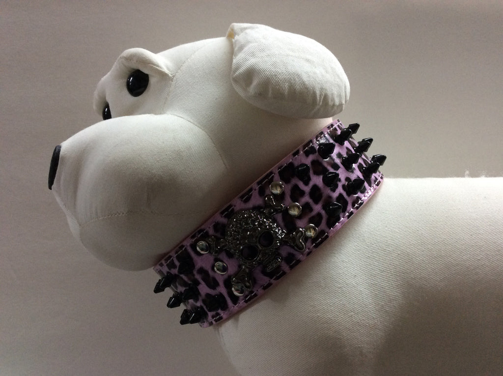 NPF Collars Bling Wide Collars with Skull in Pink