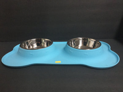 A & T Super Bone Placemat with a Double Stainless Bowl - Blue