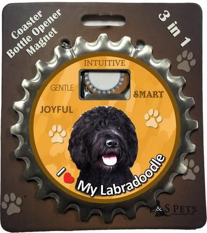 Bottle Ninja - 3 in 1 Coaster/Bottle Opener/ Magnet - Labradoodle, black
