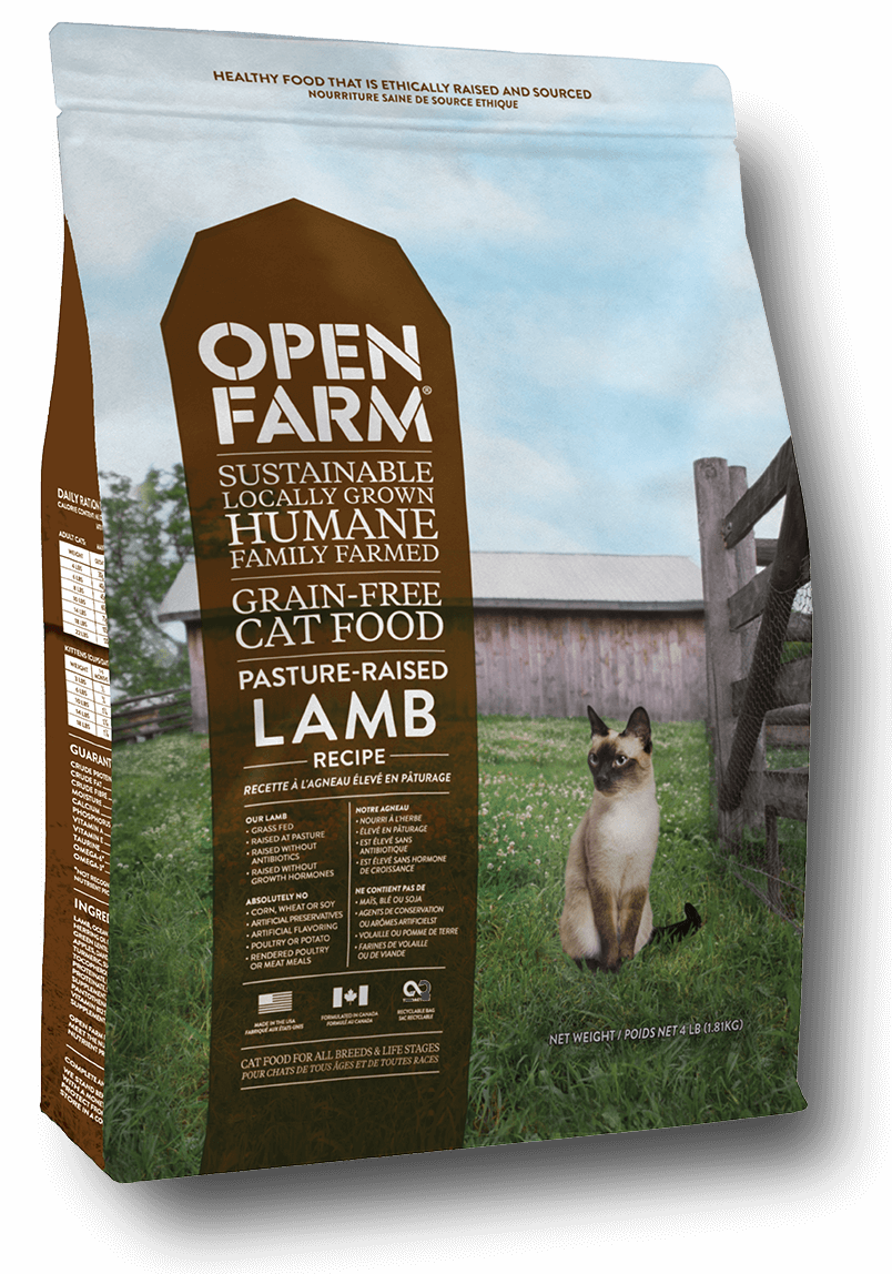 open farm pasture raised lamb cat food