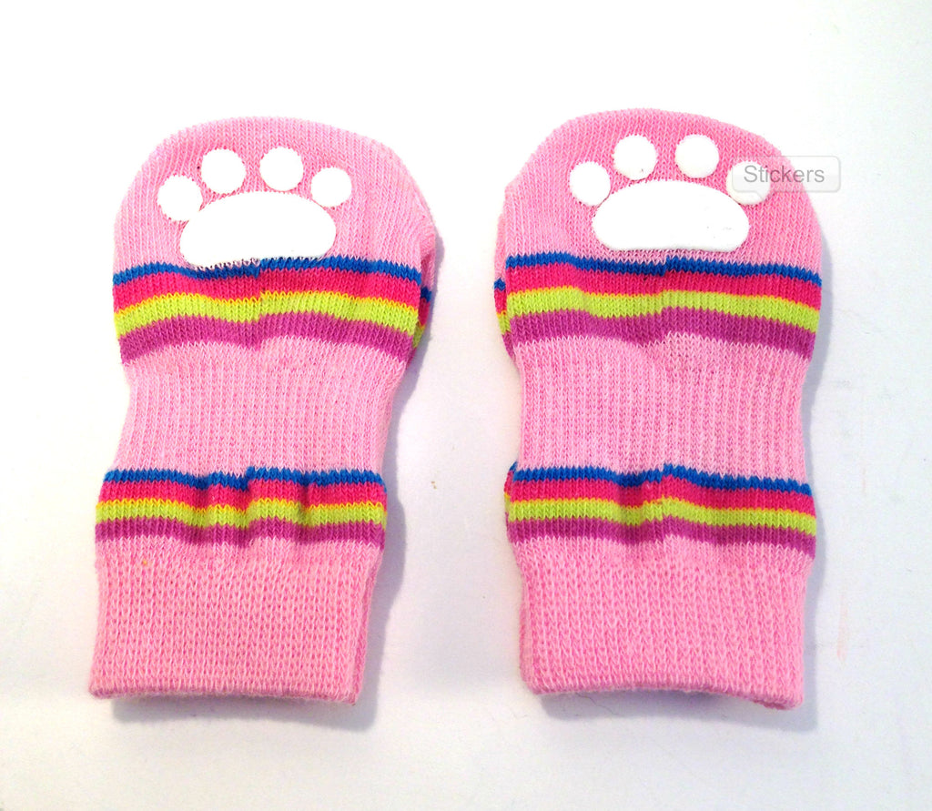 Lookin' Good Striped Slipper Socks - Pink -SALE