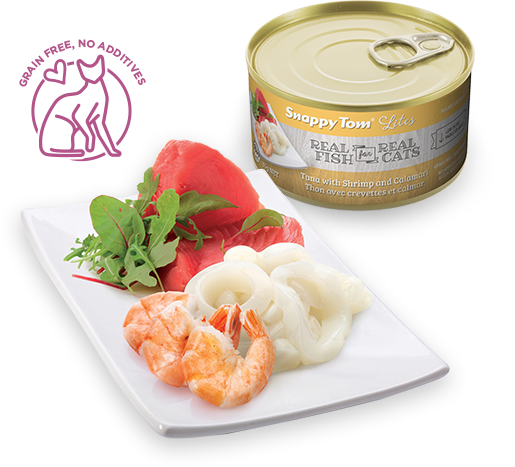 Snappy Tom - Lites Canned Cat Food - Tuna with Shrimp and Calamari
