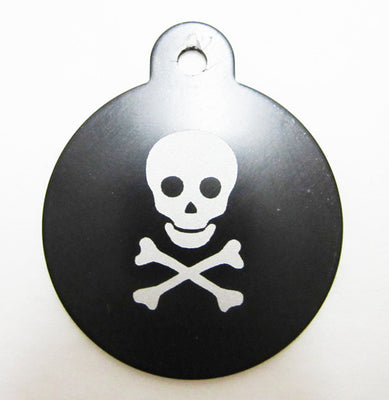 ID Tag - Large Black Circle with Skull and Crossbones