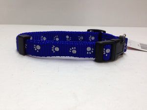 Pet pro blue collar with paw prints