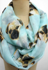 Pug Scarf Light Blue