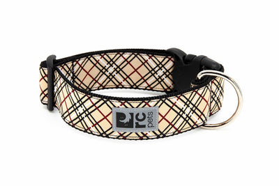 RC Pets Wide Clip Collar Tan Tartan