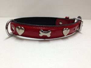 SD Red Bones & Hearts Leather Collar 16""